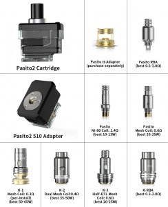 Smoant Pasito 2 Cartridge & Coils & 510 Adapter