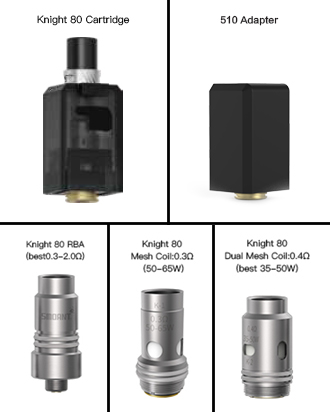Smoant Knight 80 Cartridge & Coils & 510 Adapter
